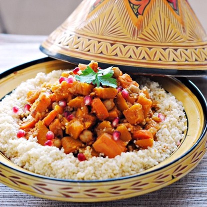 Butternut Squash, Sweet Potato, and Chickpea Tagine with Coucous
